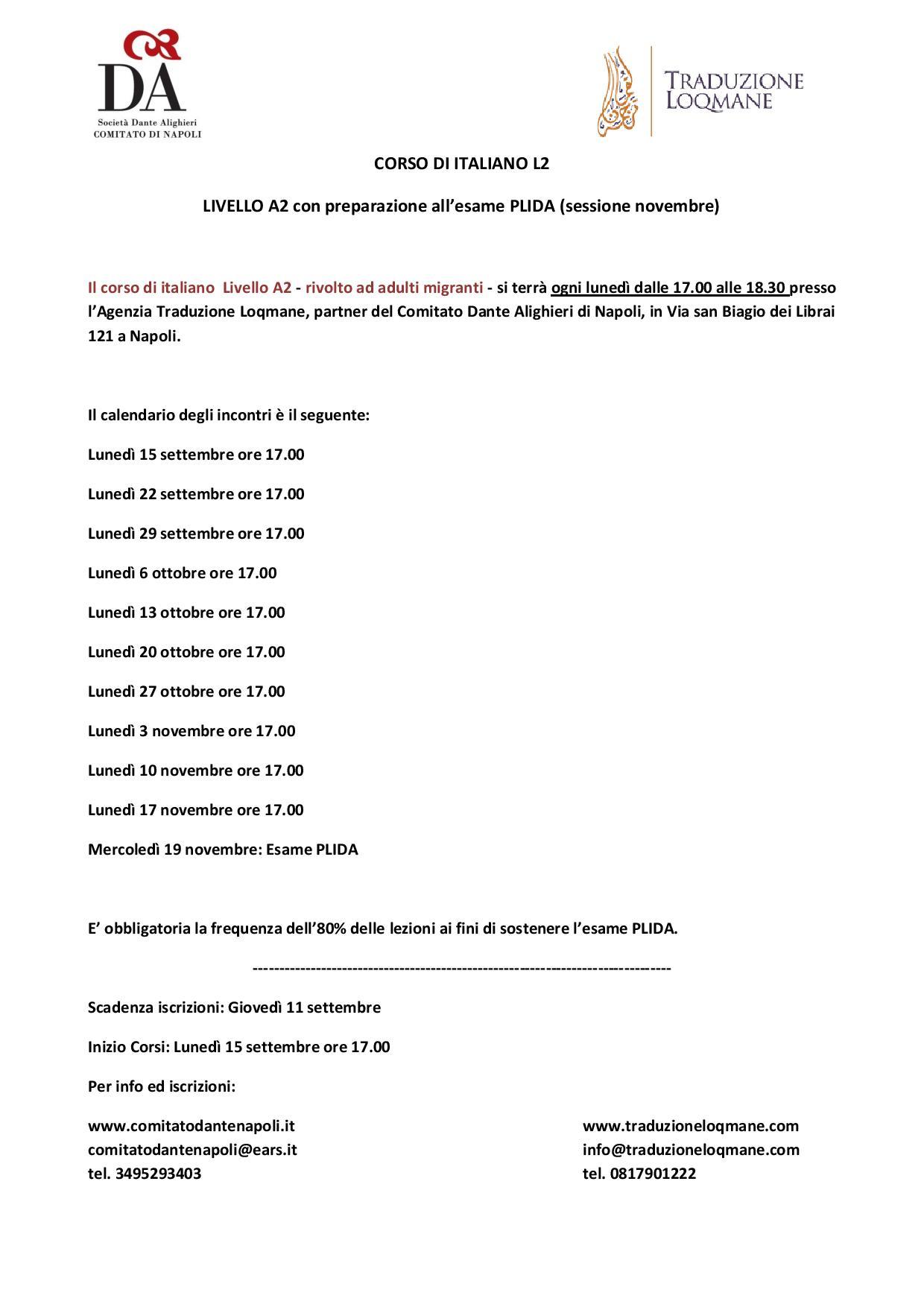 Calendario corso A2 per migranti